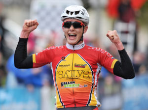 30th of April, 2016; Angus Fyffe, Omagh Wheelers CC, celebrates winning Stage 1 of the AmberGreen Energy Tour of Ulster. Moy, Co. Tyrone. Picture credit: Stephen McMahon / Tour of Ulster
