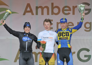 30th of April, 2016; From left to right, second on stage, Conor Hennebry, Team Aquablue, stage winner, Angus Fyffe, Omagh Wheelers CC, and third on stage, Eoin Morton, UCD FitzCycles, on the awards podium at the finish of Stage 1 of the AmberGreen Energy Tour of Ulster. Moy, Co. Tyrone. Picture credit: Stephen McMahon / Tour of Ulster