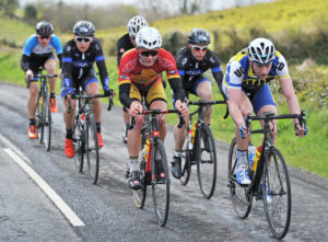 30th of April, 2016; Angus Fyffe, Omagh Wheelers CC, centre, and Eoin Morton, UCD FitzCycles, right, lead the breakaway during Stage 1 of the AmberGreen Energy Tour of Ulster. Moy, Co. Tyrone. Picture credit: Stephen McMahon / Tour of Ulster