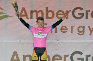 30th of April, 2016; Angus Fyffe, Omagh Wheelers CC, celebrates on the awards podium after winning Stage 1 of the AmberGreen Energy Tour of Ulster. Moy, Co. Tyrone. Picture credit: Stephen McMahon / Tour of Ulster