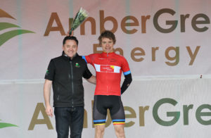 30th of April, 2016; Christopher McGlinchey, Ballymoney CC, left, with Neil O'Brien, Company Chairman, AmberGreen Energy, on the awards podium after Stage 1 of the AmberGreen Energy Tour of Ulster. Moy, Co. Tyrone. Picture credit: Stephen McMahon / Tour of Ulster
