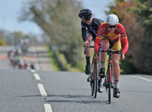 30th of April, 2016; Angus Fyffe, Omagh Wheelers CC, leads breakaway companion Sean McKenna, Team Aquablue, during Stage 1 of the AmberGreen Energy Tour of Ulster. Moy, Co. Tyrone. Picture credit: Stephen McMahon / Tour of Ulster
