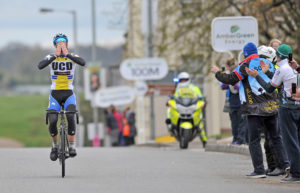 1st of May, 2016; Ian Richardson, UCD FitzCycles, celebrates as he crosses the finish line to win Stage 2 of the AmberGreen Energy Tour of Ulster. Moy, Co. Tyrone. Picture credit: Stephen McMahon / Tour of Ulster