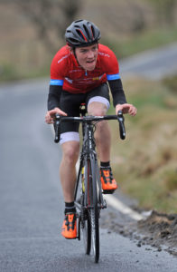 1st of May, 2016; Christopher McGlinchey, Ballymoney CC, on the ascent of the category one climb of Spelga Dam during Stage 2 of the AmberGreen Energy Tour of Ulster. Moy, Co. Tyrone. Picture credit: Stephen McMahon / Tour of Ulster