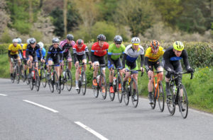 1st of May, 2016; Bryan McCrystal, Asea Wheelworx, leads the breakaway during Stage 2 of the AmberGreen Energy Tour of Ulster. Moy, Co. Tyrone. Picture credit: Stephen McMahon / Tour of Ulster