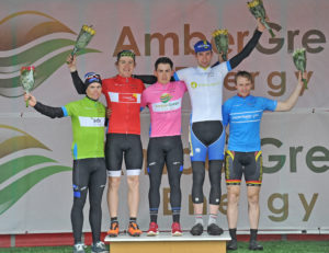 1st of May, 2016; From left to right, Sean Lacey, Team Aquablue, wearing the SDS Points Competition jersey, Christopher McGlinchey, Ballymoney CC, leader of the Campbell Cairns U23 Rider Overall, Conor Hennebry, Team Aquablue, Race Leader, Iam Richardson, UCD FitzCycles, Stage Winner, and Gareth McKee, Banbridge Cycling Club, leader of the Powerhouse Sport Mountains Competition, on the awards podium after Stage 2 of the AmberGreen Energy Tour of Ulster. Moy, Co. Tyrone. Picture credit: Stephen McMahon / Tour of Ulster