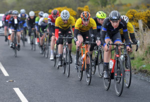 1st of May, 2016; Sean McKenna, Team Aquablue, right, leads the breakaway during Stage 2 of the AmberGreen Energy Tour of Ulster. Moy, Co. Tyrone. Picture credit: Stephen McMahon / Tour of Ulster