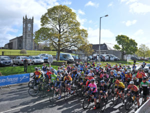 2nd of May, 2016; A general view of the peloton as the riders await the start of Stage 3 of the AmberGreen Energy Tour of Ulster. Moy, Co. Tyrone. Picture credit: Stephen McMahon / Tour of Ulster