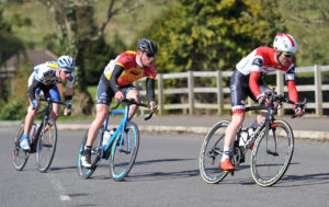 2nd of May, 2016; Ronan McLaughlin,  Foyle Racing Team, leads Marcus Christie, Omagh Wheelers CC, and Eoin Morton, UCD FitzCycles, during Stage 3 of the AmberGreen Energy Tour of Ulster. Moy, Co. Tyrone. Picture credit: Stephen McMahon / Tour of Ulster