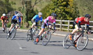 2nd of May, 2016; Christopher McGlinchey, Ballymoney CC, right, leads race leader Conor Hennebry, Team Aquablue, in pink, on the approach to Moy during Stage 3 of the AmberGreen Energy Tour of Ulster. Moy, Co. Tyrone. Picture credit: Stephen McMahon / Tour of Ulster