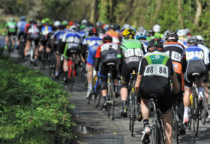 2nd of May, 2016; A general view of the action as the peloton approach Moy on Stage 3 of the AmberGreen Energy Tour of Ulster. Moy, Co. Tyrone. Picture credit: Stephen McMahon / Tour of Ulster