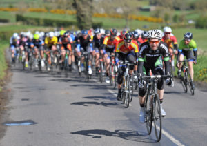2nd of May, 2016; Greg Swinand, PANDUIT Tipperary, leads the peloton on the approach to Moy during Stage 3 of the AmberGreen Energy Tour of Ulster. Moy, Co. Tyrone. Picture credit: Stephen McMahon / Tour of Ulster