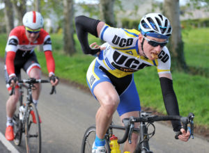 2nd of May, 2016; Eoin Morton, UCD FitzCycles, leads Ronan McLaughlin,  Foyle Racing Team, on the approach to Moy during Stage 3 of the AmberGreen Energy Tour of Ulster. Moy, Co. Tyrone. Picture credit: Stephen McMahon / Tour of Ulster