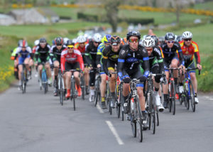 2nd of May, 2016; Matteo Cigala, Team Aquablue, leads the peloton on the approach to Moy during Stage 3 of the AmberGreen Energy Tour of Ulster. Moy, Co. Tyrone. Picture credit: Stephen McMahon / Tour of Ulster