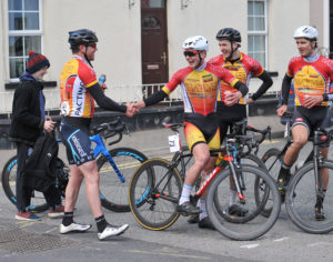 2nd of May, 2016; Stage winner Marcus Christie, Omagh Wheelers CC, right, celebrates with teammates Angus Fyffe, David McFall, and Marc Potts, at the finish of Stage 3 of the AmberGreen Energy Tour of Ulster. Moy, Co. Tyrone. Picture credit: Stephen McMahon / Tour of Ulster