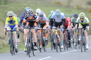 29th of April, 2017; Craig McAuley, Caldwell Cycles Omagh, leads the peloton during Stage 1 of the AmberGreen Energy Tour of Ulster. Moy, Co. Tyrone. Picture credit: Stephen McMahon / Tour of Ulster