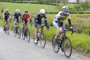 29th of April, 2017; Ian Richardson, UCD Cycling Club, leads a breakaway group during Stage 1 of the AmberGreen Energy Tour of Ulster. Moy, Co. Tyrone. Picture credit: Stephen McMahon / Tour of Ulster
