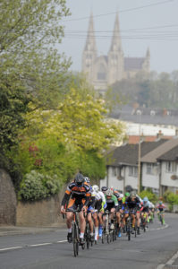 30th of April, 2017; A general view of the action as the peloton pass through Armagh during Stage 2 of the AmberGreen Energy Tour of Ulster. Moy, Co. Tyrone. Picture credit: Stephen McMahon / Tour of Ulster