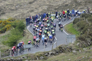 30th of April, 2017; A general view of the action as the peloton ascend the category one climb of Spelga Dam during Stage 2 of the AmberGreen Energy Tour of Ulster. Moy, Co. Tyrone. Picture credit: Stephen McMahon / Tour of Ulster