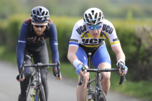 30th of April, 2017; Eoin Morton, UCD Cyclng Club, leads breakaway companion Robert McCarthy, Team Monaghan, during Stage 2 of the AmberGreen Energy Tour of Ulster. Moy, Co. Tyrone. Picture credit: Stephen McMahon / Tour of Ulster