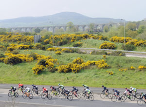 30th of April, 2017; A general view of the action as the peloton approach Newry, County Down, during Stage 2 of the AmberGreen Energy Tour of Ulster. Moy, Co. Tyrone. Picture credit: Stephen McMahon / Tour of Ulster