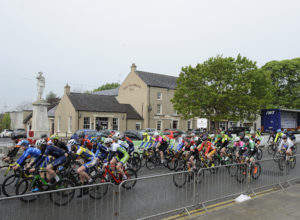 30th of April, 2017; A general view of the action as the peloton leave Moy to start Stage 2 of the AmberGreen Energy Tour of Ulster. Moy, Co. Tyrone. Picture credit: Stephen McMahon / Tour of Ulster