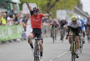 1st of May, 2017; Simon Ryan, Strata Velo Revolution, celebrates as he takes victory on Stage 3 of the AmberGreen Energy Tour of Ulster. Moy, Co. Tyrone. Picture credit: Stephen McMahon / Tour of Ulster