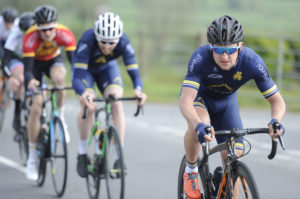 1st of May, 2017; Mark O'Callaghan, Aqua Blue Sport Academy, leads the breakaway during Stage 3 of the AmberGreen Energy Tour of Ulster. Moy, Co. Tyrone. Picture credit: Stephen McMahon / Tour of Ulster