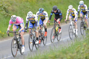 1st of May, 2017; Race Leader Eoin Morton, UCD Cycling Club, leads the peloton during Stage 3 of the AmberGreen Energy Tour of Ulster. Moy, Co. Tyrone. Picture credit: Stephen McMahon / Tour of Ulster