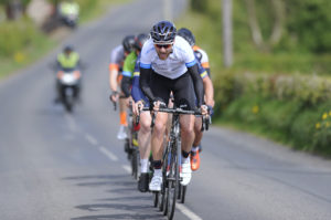1st of May, 2017; Robert Jon McCarthy, Team Monaghan, leads the breakaway during Stage 3 of the AmberGreen Energy Tour of Ulster. Moy, Co. Tyrone. Picture credit: Stephen McMahon / Tour of Ulster