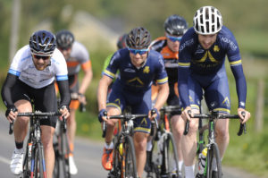 1st of May, 2017; Anthony Walsh, Aqua Blue Sport Academy, right, leads the breakaway during Stage 3 of the AmberGreen Energy Tour of Ulster. Moy, Co. Tyrone. Picture credit: Stephen McMahon / Tour of Ulster