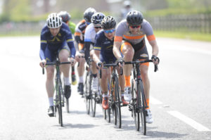 1st of May, 2017; David Watson, The Bike House CC, leads the breakaway during Stage 3 of the AmberGreen Energy Tour of Ulster. Moy, Co. Tyrone. Picture credit: Stephen McMahon / Tour of Ulster