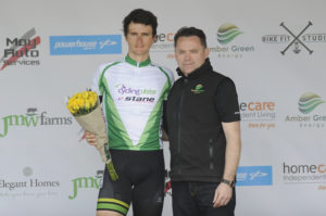 1st of May, 2017; Third on stage, Marc Potts, Cycling Ulster, with Neil O'Brien, AmberGreen Energy, on the awards podium at the finish of Stage 3 of the AmberGreen Energy Tour of Ulster. Moy, Co. Tyrone. Picture credit: Stephen McMahon / Tour of Ulster