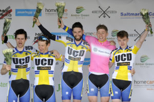 1st of May, 2017; Best-placed Team on the General Classification UCD Cycling Club on the awards podium at the finish of Stage 3 of the AmberGreen Energy Tour of Ulster. Moy, Co. Tyrone. Picture credit: Stephen McMahon / Tour of Ulster